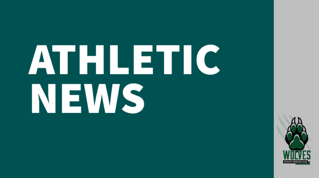White text on a teal background reads Athletic news