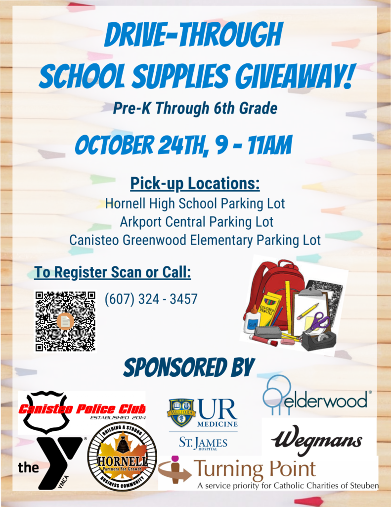 Image of a flyer for a school supply giveaway on Oct. 24