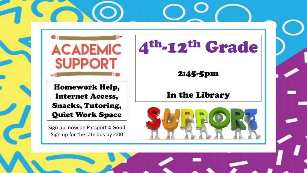 Academic support services available for grades 4-12