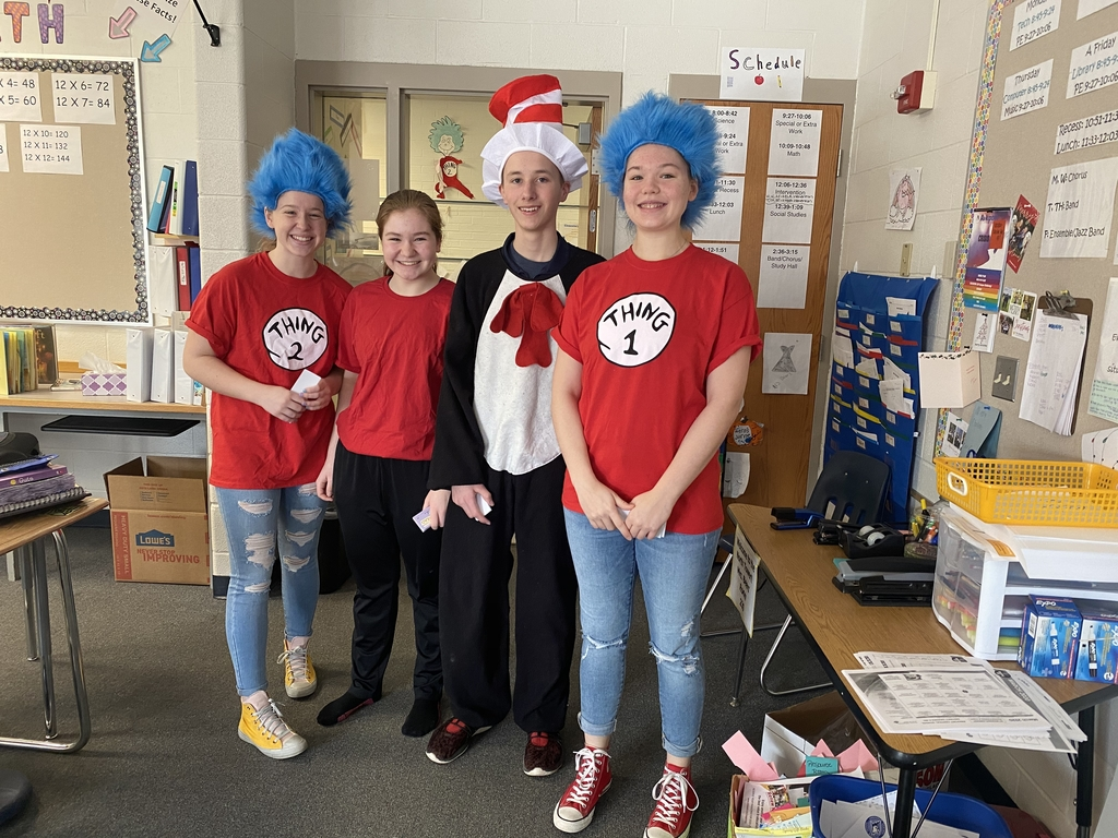 Our high school students celebrated Dr. Seuss' birthday by visiting Arkport Elementary School classrooms